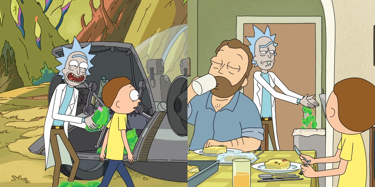 Rick and Morty Rick with parasite rocks