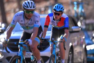 CHALET REYNARD MONT VENTOUX FRANCE FEBRUARY 15 Alexey Lutsenko of Kazakhstan and Team Astana Pro Team Aleksandr Vlasov of Russia and Team Astana Pro Team Multicolour Leader Jersey during the 5th Tour de La Provence 2020 Stage 3 a 1435km stage from Istres to Chalet Reynard Mont Ventoux 1429m TDLP letourdelaprovence TDLP2020 on February 15 2020 in Chalet Reynard Mont Ventoux France Photo by Luc ClaessenGetty Images