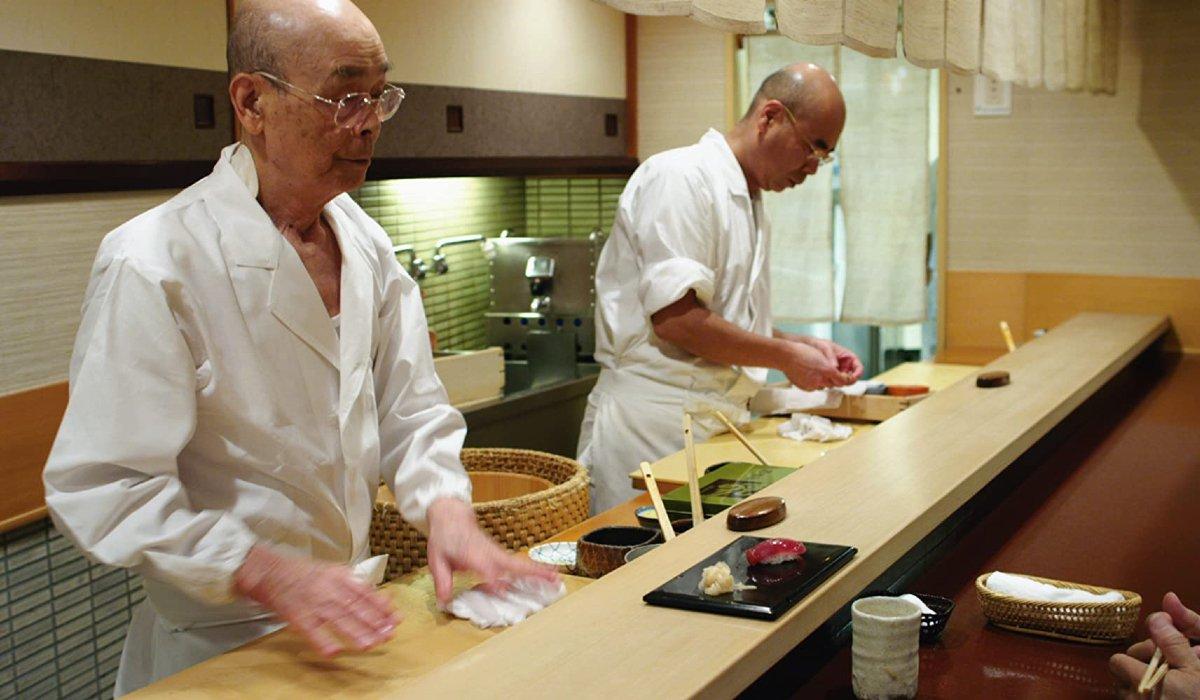 Jiro Dreams Of Sushi Jiro and his son prepare some sushi