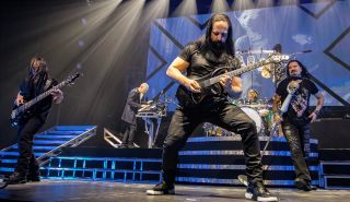(from left) John Myung, Jordan Rudess, John Petrucci, Mike Mangini and James LaBrie of Dream Theater perform at Oslo Spektrum in Oslo, Norway on January 21, 2020