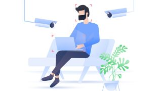 Illustration of a man being surveilled on his laptop