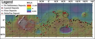 mars lakes map mola