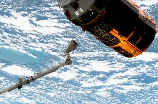 The ninth and last of JAXA's H-II Transfer Vehicles, or Kounotori, is released from end of the Canadarm2 robotic arm after 85 days berthed to the International Space Station. Loaded with waste, the HTV will meet its demise re-entering the atmosphere.