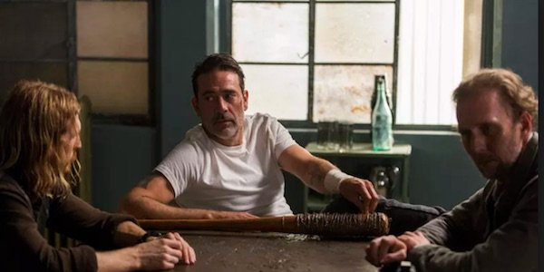 Negan and his lieutenants in The Sanctuary
