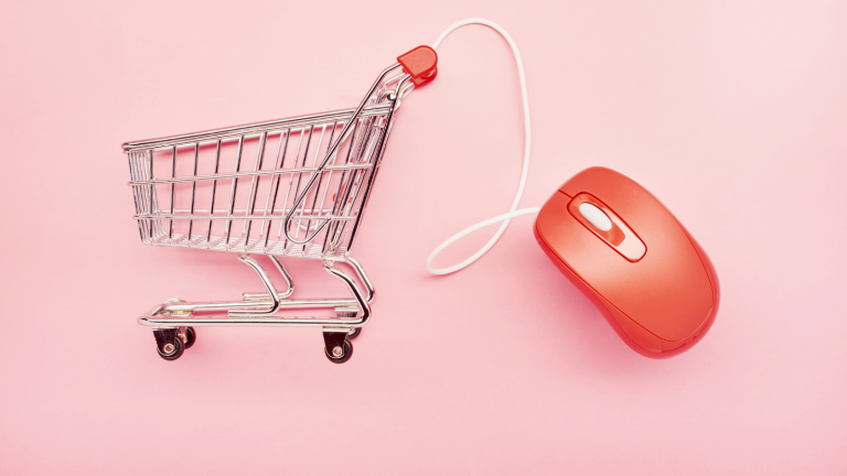 when is cyber monday - shopping basket and computer mouse