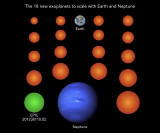 A diagram showing the sizes of the newly identified planets compared to Earth and Neptune. Only one of the 18 planets is at a distance from its star that could potentially allow liquid water to survive on its surface.