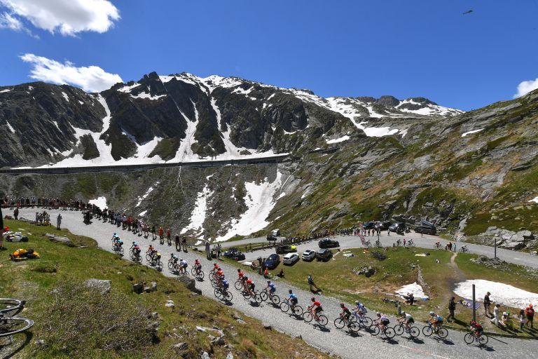 Peloton riding at the Tour de Suisse 2019