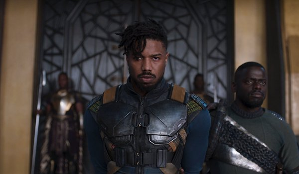 Black Panther Killmonger marches into the throne room