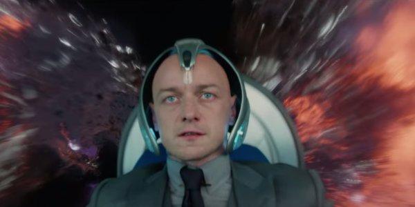 Dark Phoenix Professor X looking concerned as alien energy surrounds him