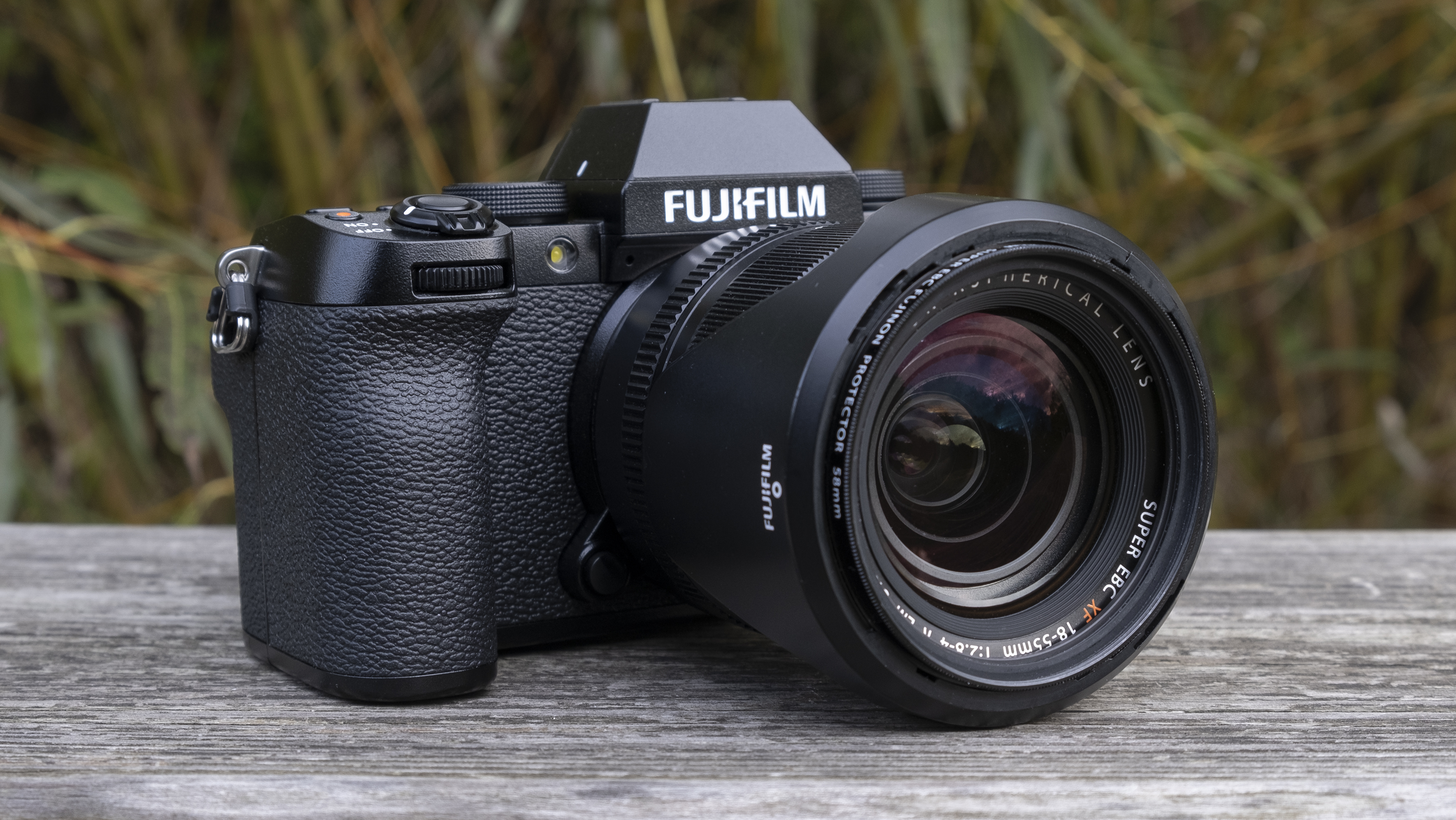 The Fujifilm X-S10, the best vlogging camera you can buy right now, on a bench