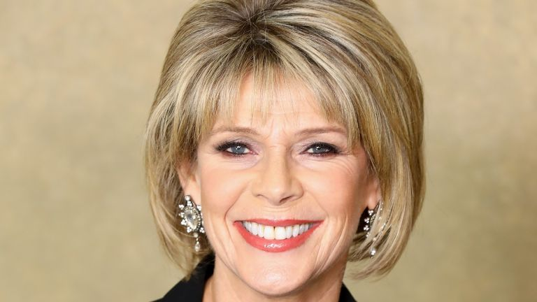 ruth langsford smiling beige background