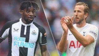 Allan Saint-Maximin of Newcastle United and Harry Kane of Tottenham Hotspur