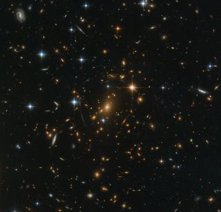 NASA's Hubble Space Telescope captured this stunning view of the galaxy cluster RXC J0142.9+4438 on Aug. 13, 2018, using the observatory's Advanced Camera for Surveys and Wide Field Camera 3.