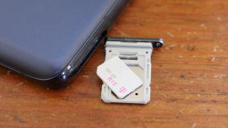 T-Mobile SIM card on a SIM tray