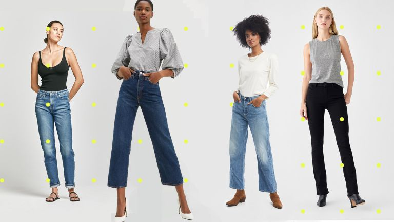 Four models wearing a selection of the best sustainable jeans