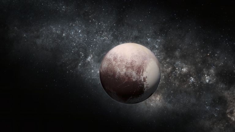 Pluto. Illustration incorporating NASA New Horizons terrain imagery.