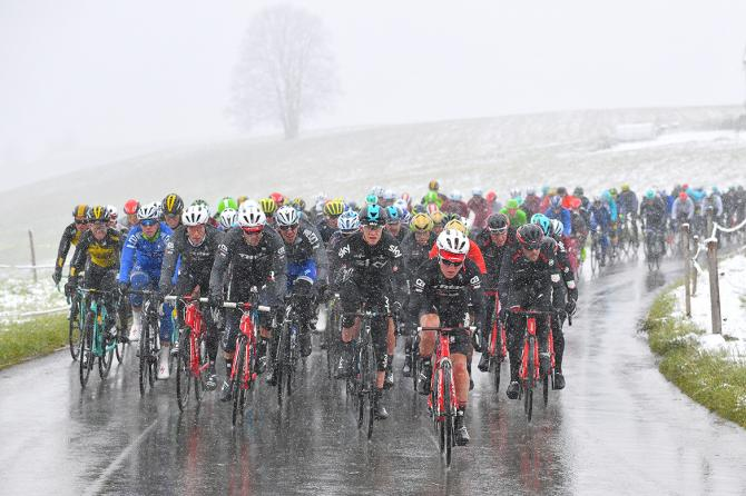 Snow on stage 2 of Tour de Romandie