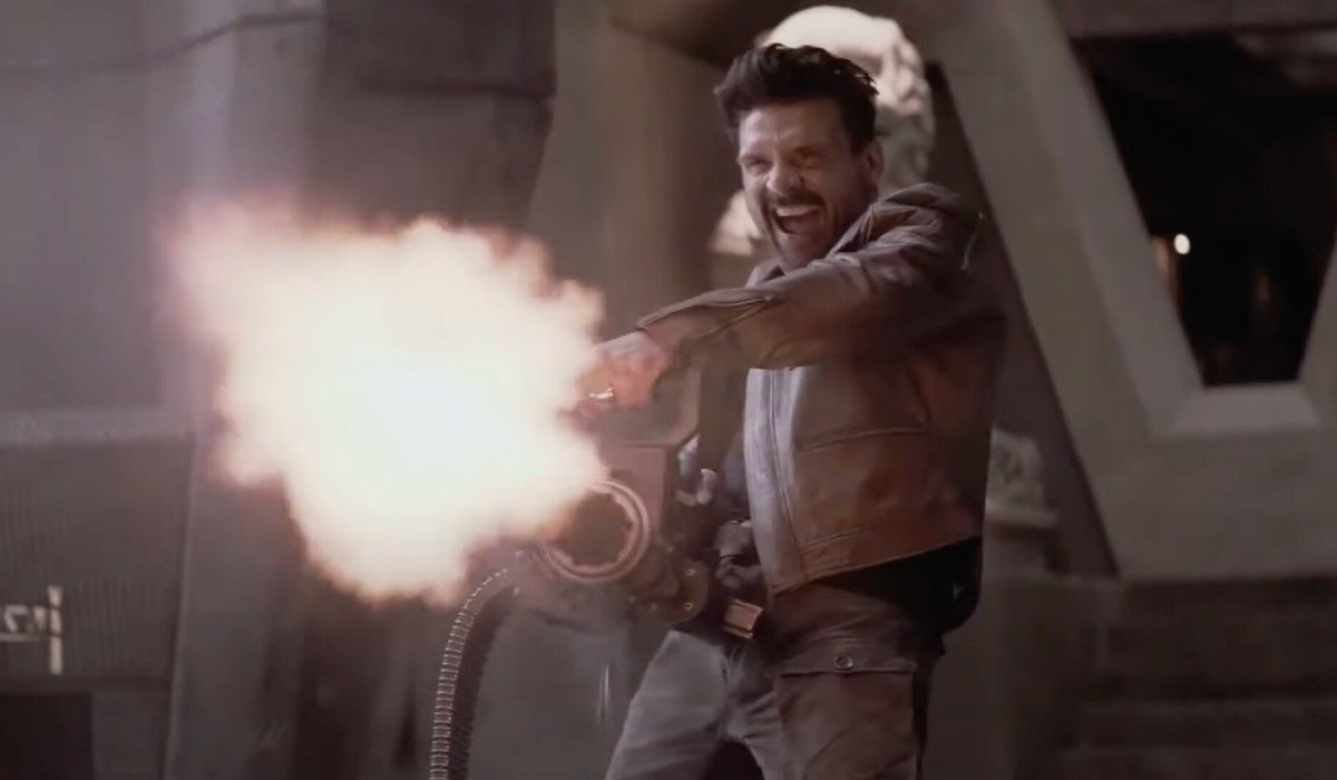 Boss Level Frank Grillo is really happy with his gatling gun