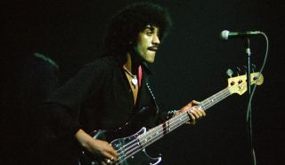 Phil Lynott of Thin Lizzy performs on stage at the Hammersmith Odeon on December 11, 1977 in London