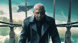 Samuel L. Jackson as Nick Fury aboard the Helicarrier.