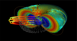 An illustration of Earth's Van Allen belts, with the trajectories of ultra-relativistic electrons in gray. The colorful loops in the foreground are the orbits of satellites that must pass through this electromagnetically dangerous area of space.