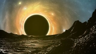 A black hole as seen from the surface of a planet.