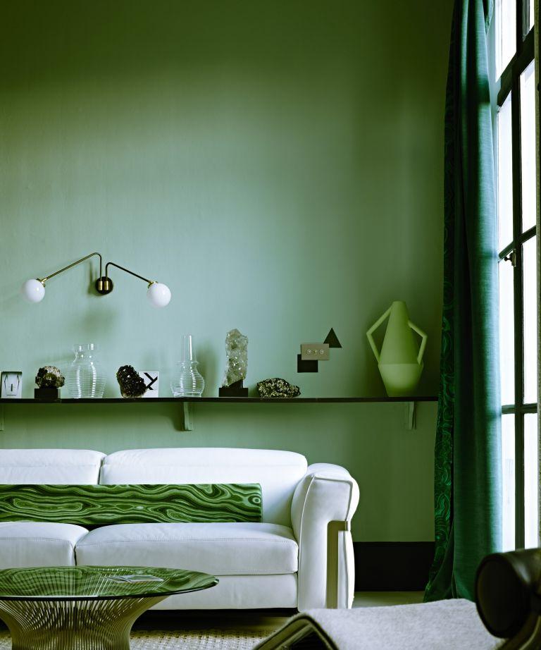 Interior designers favorite shade of green paint, retro living room
