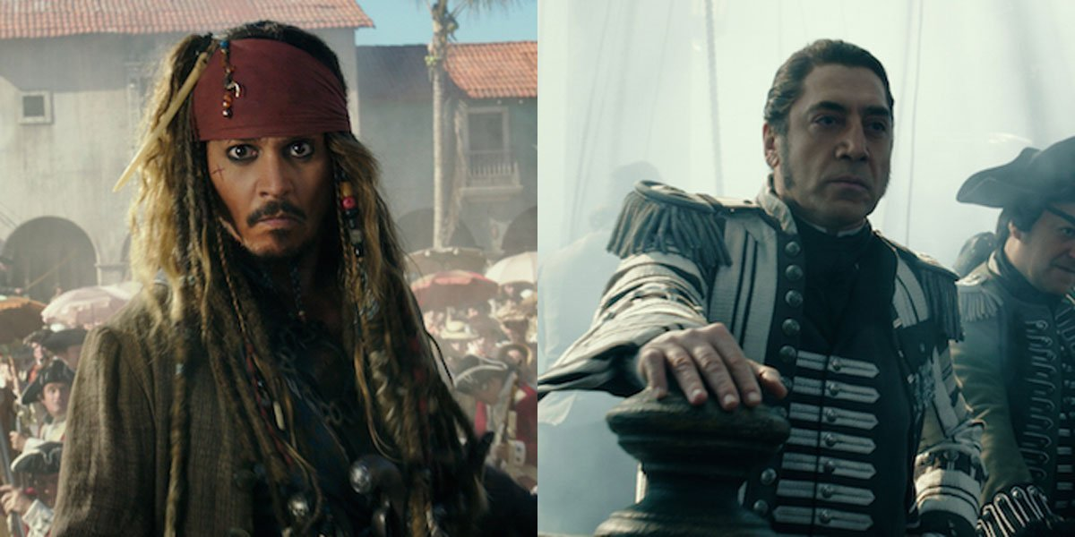 Johnny Depp and Javier Bardem In Pirates of the Caribbean: Dead Men Tell No Tales