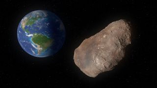 A large space rock's orbit carries it past Earth.