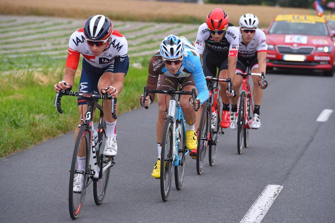 Oliver Naesen (IAM Cycling) leads the breakaway