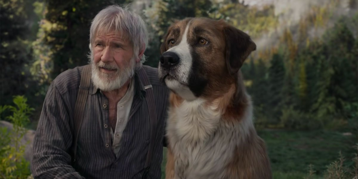 The Call of the Wild trailer screenshot of Harrison Ford and CGI dog.