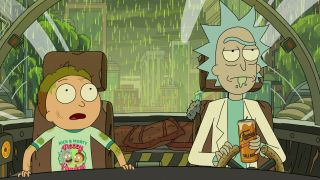Rick and Morty inside Rick's spaceship as acid rain pours outside.