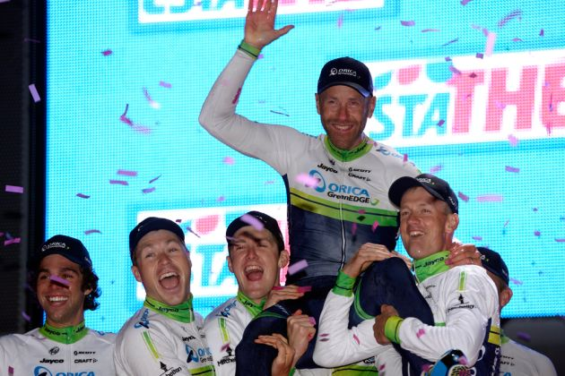 Orica-GreenEdge celebrate winning the opening team time trial of the 2014 Giro d'Italia