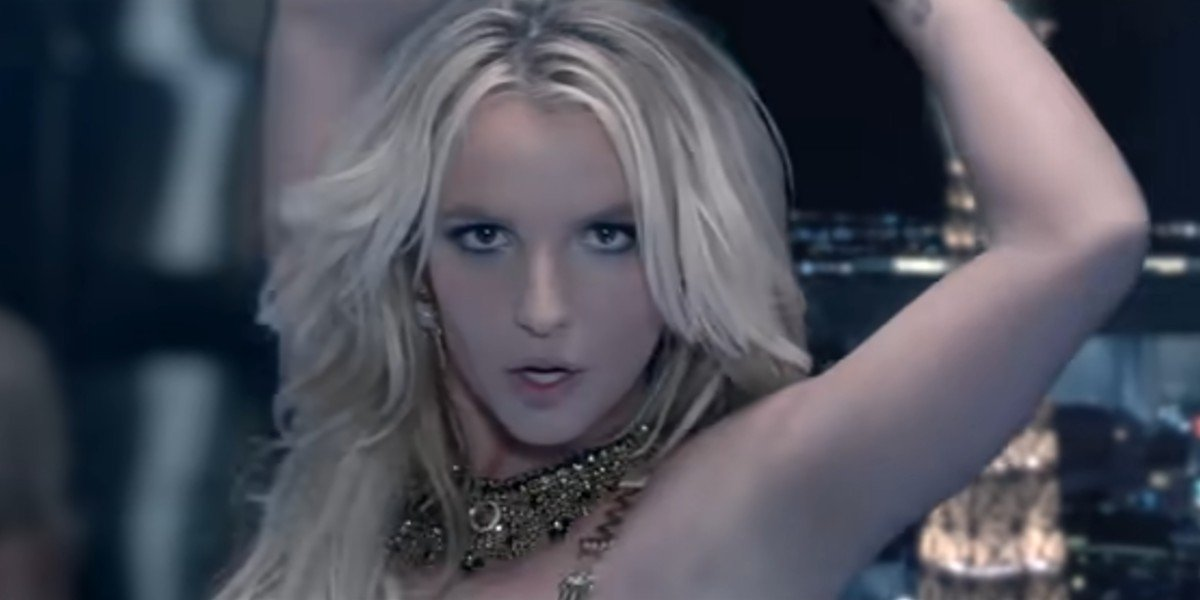 Britney Spears vamping for the camera in the Work B**ch music video