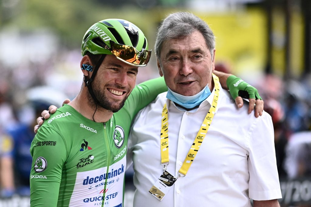Team Deceuninck Quicksteps Mark Cavendish of Great Britain wearing the best sprinters green jersey L poses for a photograph with Belgian cycling legend Eddy Merckx prior to the 19th stage of the 108th edition of the Tour de France cycling race 207 km between Mourenx and Libourne on July 16 2021 Photo by AnneChristine POUJOULAT AFP The erroneous mentions appearing in the metadata of this photo by AnneChristine POUJOULAT has been modified in AFP systems in the following manner prior to the 19th stage of the 108th edition of the Tour de France cycling race 207 km between Mourenx and Libourne on July 16 2021 instead of prior to the 18th stage of the 108th edition of the Tour de France cycling race 129 km between Pau and Luz Ardiden on July 15 2021 Please immediately remove the erroneous mentions from all your online services and delete it them from your servers If you have been authorized by AFP to distribute it them to third parties please ensure that the same actions are carried out by them Failure to promptly comply with these instructions will entail liability on your part for any continued or post notification usage Therefore we thank you very much for all your attention and prompt action We are sorry for the inconvenience this notification may cause and remain at your disposal for any further information you may require Photo by ANNECHRISTINE POUJOULATAFP via Getty Images
