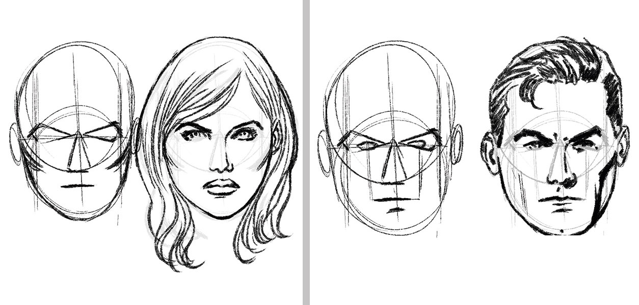 A sketch of a woman's face and a man's face