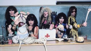 Rock band Twisted Sister posing in full make up with medical equipment