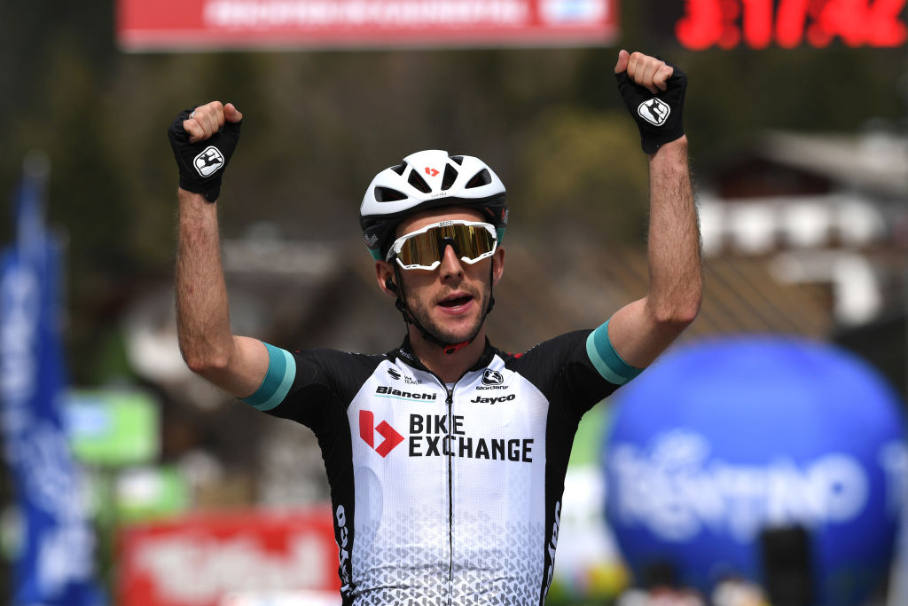 FEICHTEN IM KAUNERTAL AUSTRIA APRIL 20 Simon Yates of United Kingdom and Team BikeExchange celebrates at arrival during the 44th Tour of the Alps 2021 Stage 2 a 1215km stage from Innsbruck to Feichten im Kaunertal 1291m TourofTheAlps TouroftheAlps on April 20 2021 in Feichten im Kaunertal Austria Photo by Tim de WaeleGetty Images