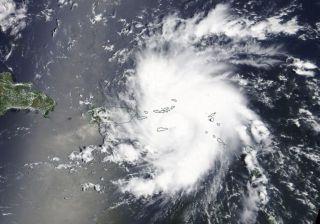 A view of now-Hurricane Dorian taken by NASA's Terra satellite at 1:30 p.m. EDT (1730 GMT) on Aug. 28, 2019.