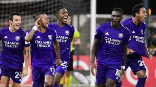 Orlando City celebrates during the MLS is Back Tournament in Orlando earlier this summer. They'll take on Florida rival Inter Miami CF on Saturday.