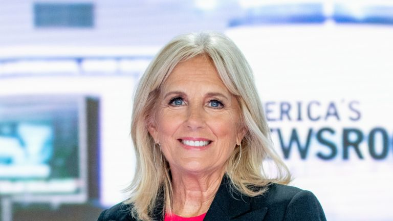 "NEW YORK, NY - SEPTEMBER 06: Jill Biden discusses ""Walk of America"" as she visits ""America's Newsroom"" at Fox News Channel Studios on September 6, 2018 in New York City. (Photo by Roy Rochlin/Getty Images)"