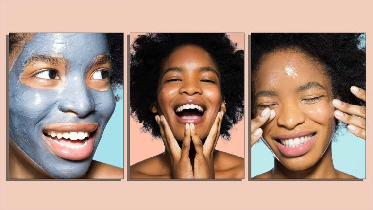 A trio of images to depict the perfect skincare product order shows a young woman during various stages of her skincare routine order, from using a mask (left) to cleansing (far right) and the final stage in the centre
