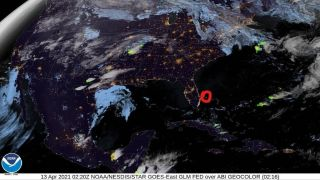 Satellite image of the continental U.S. with a red circle drawn near the Florida coast, indicating the location of a fireball that crossed the sky off the east coast