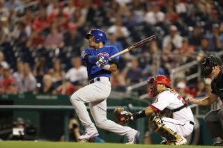 Addison Russell (27) of the Chicago Cubs during a regular season Sunday Night Baseball game.