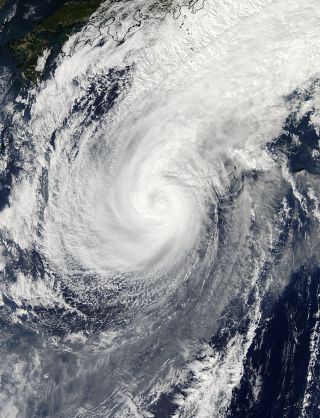 Satellite image of Typhoon Nuri.