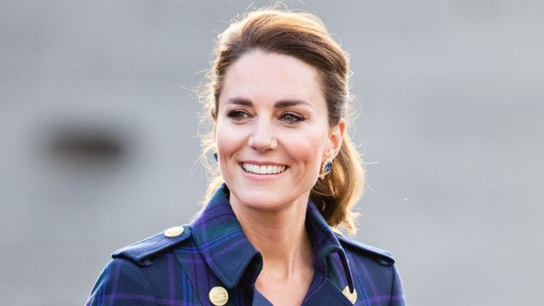 Kate Middleton, Duchess of Cambridge arrives to host NHS Charities Together and NHS staff at a unique drive-in cinema to watch a special screening of Disney's Cruella at the Palace of Holyroodhouse on day six of their week-long visit to Scotland on May 26, 2021 in Edinburgh, Scotland