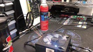 A screenshot of a gigabyte PSU failing from a Gamers Nexus video