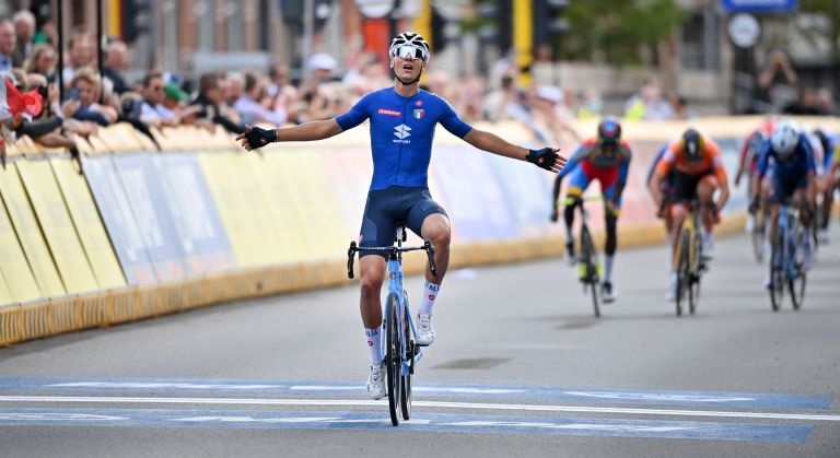 Filippo Baroncini winning the U23 World Championships road race