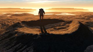 an astronaut on the edge of a crater