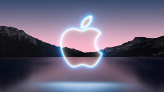 Apple September 14, 2021 announcement invite image of Apple with a lake and mountains behind